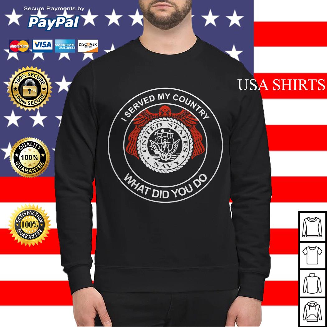 I served my country what did you do United States Navy Sweater