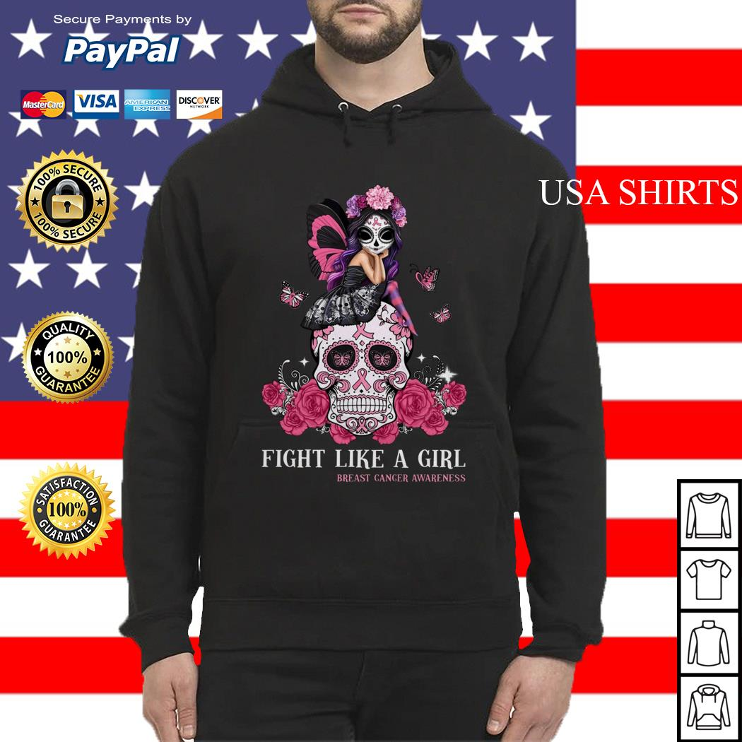 Skull fight like a girl breast cancer awareness Hoodie