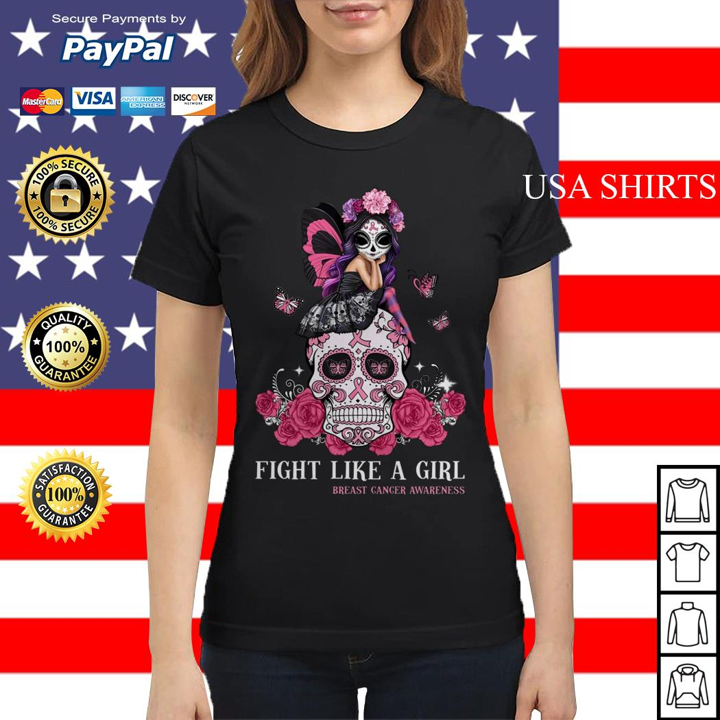Skull fight like a girl breast cancer awareness Ladies tee