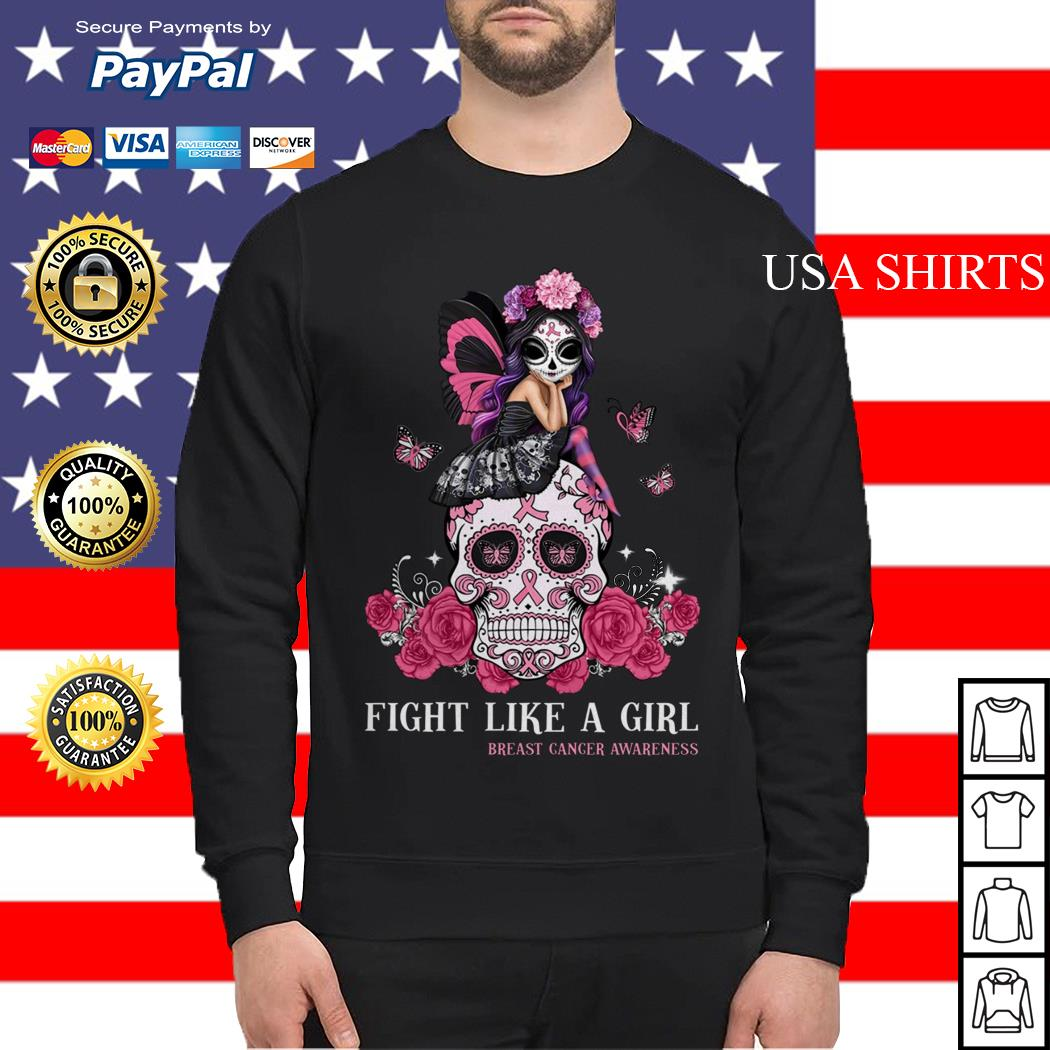 Skull fight like a girl breast cancer awareness Sweater
