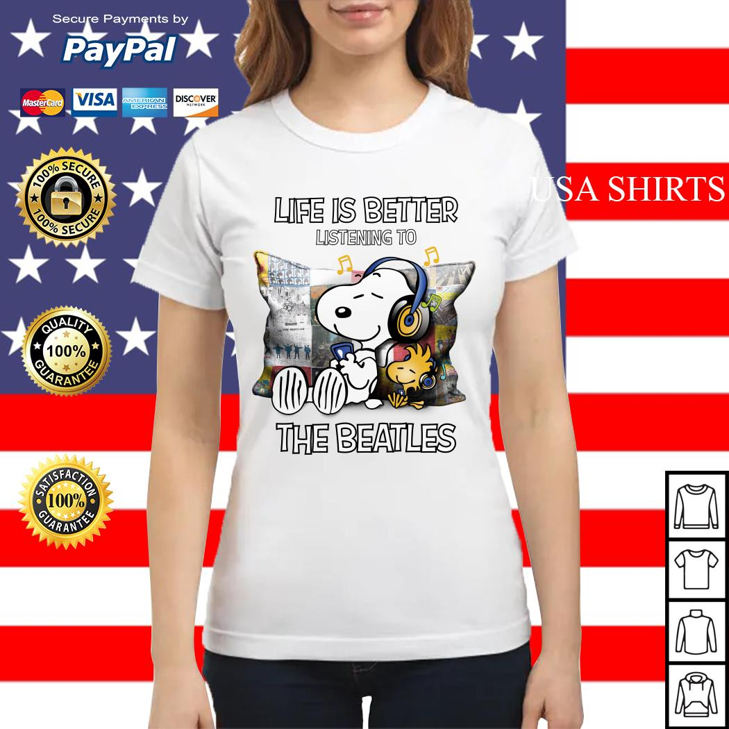 Snoopy and Woodstock life is better listening to the Beatles Ladies tee