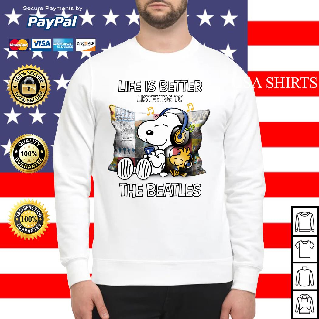 Snoopy and Woodstock life is better listening to the Beatles Sweater