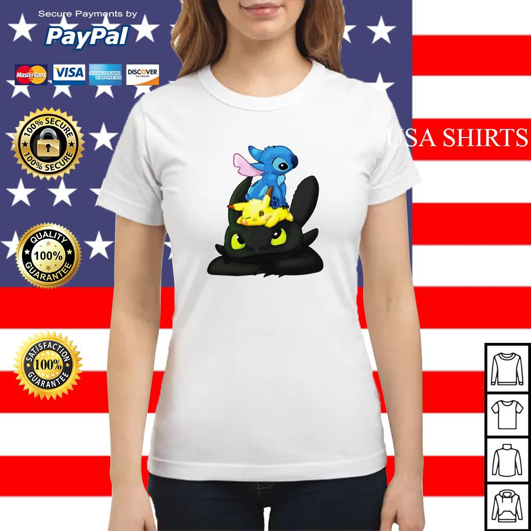Stitch Pikachu Toothless kid Ladies tee