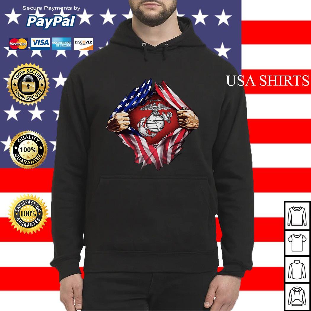 United States marine corps inside American flag Hoodie