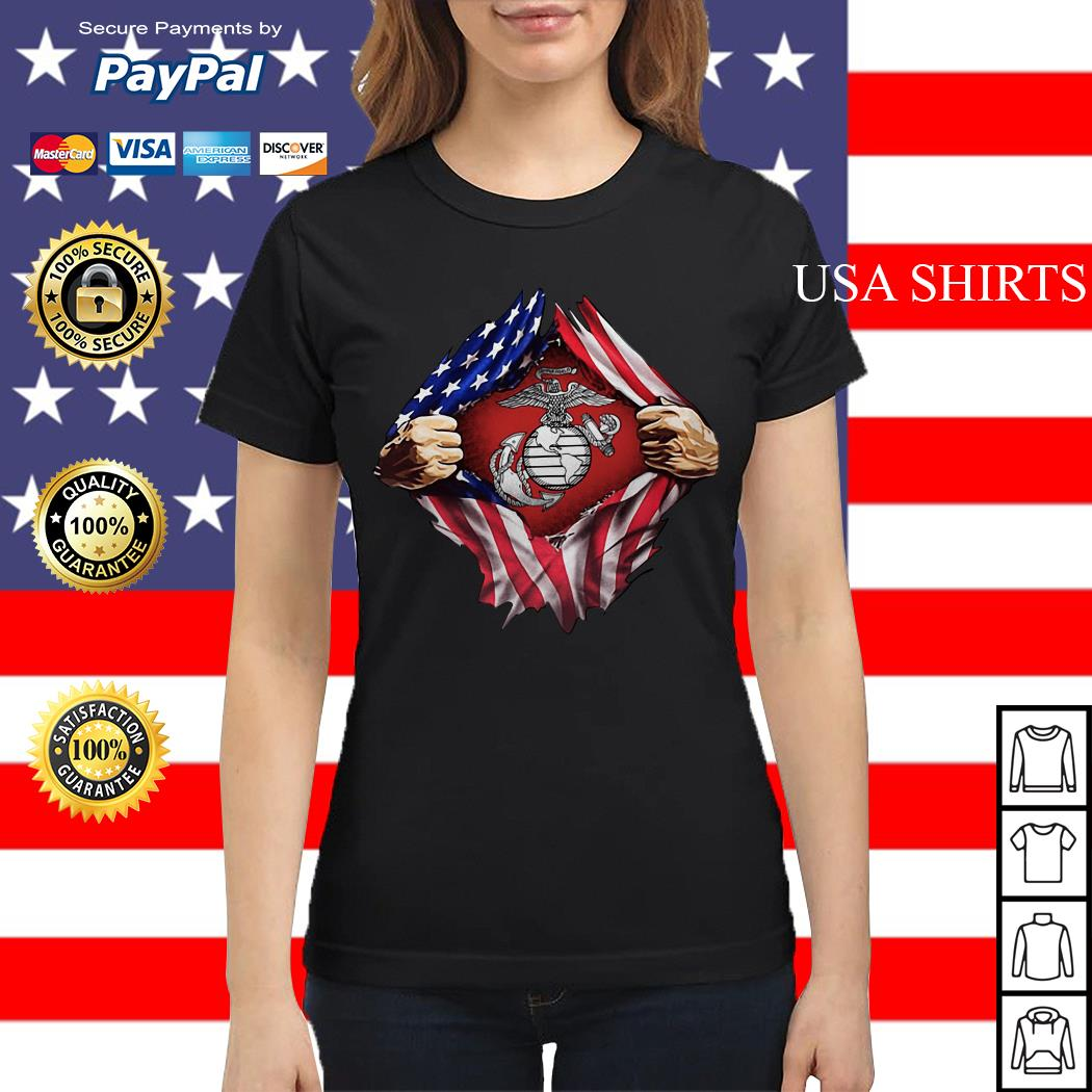 United States marine corps inside American flag Ladies tee