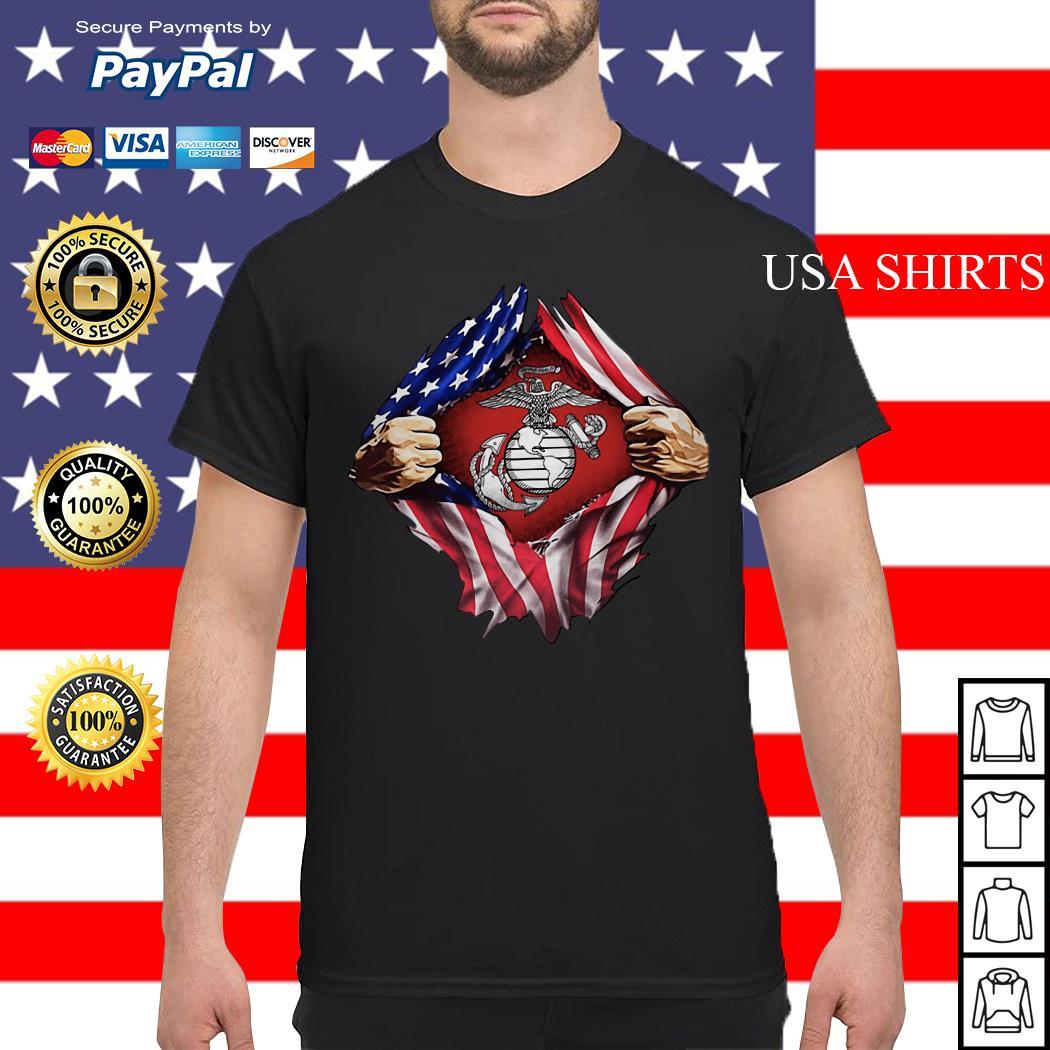 United States marine corps inside American flag shirt