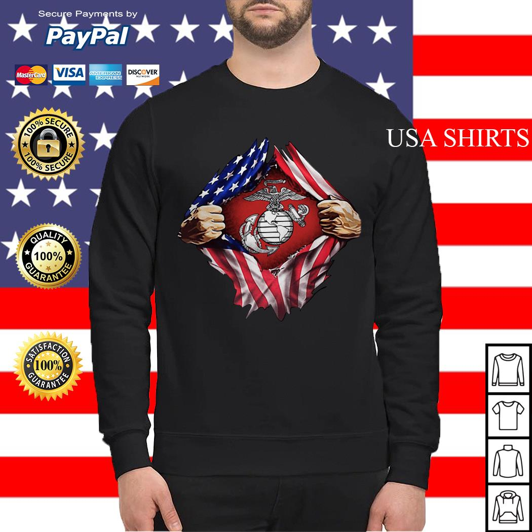 United States marine corps inside American flag Sweater