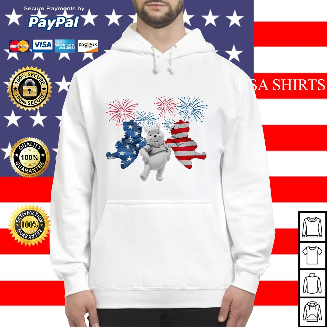 Winnie-the-Pooh 4th July Independence Day American Flag firework Hoodie