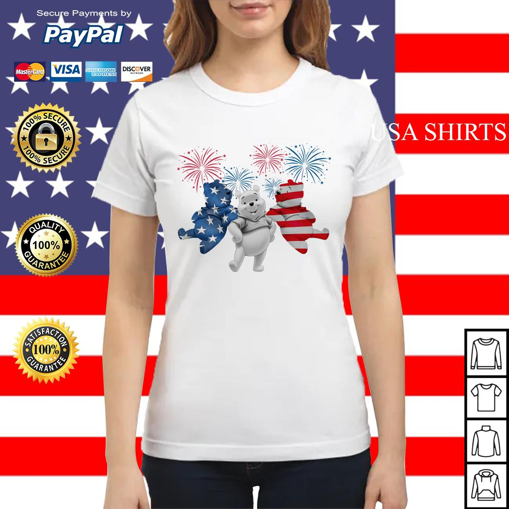 Winnie-the-Pooh 4th July Independence Day American Flag firework Ladies tee