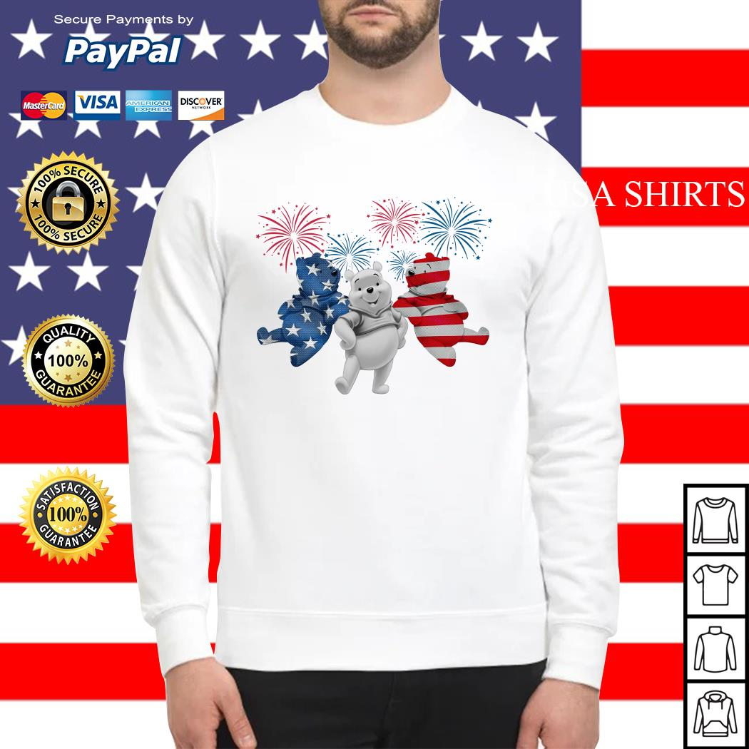 Winnie-the-Pooh 4th July Independence Day American Flag firework Sweater