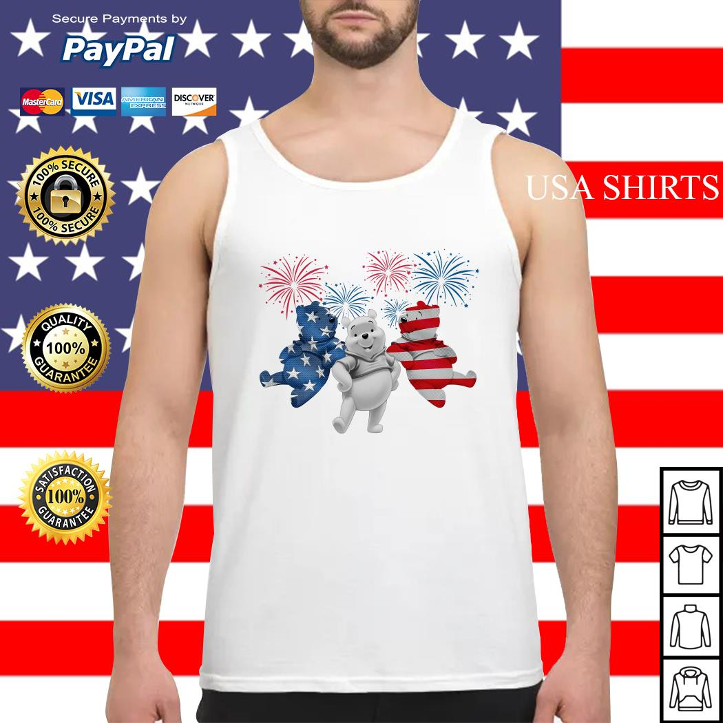 Winnie-the-Pooh 4th July Independence Day American Flag firework Tank top