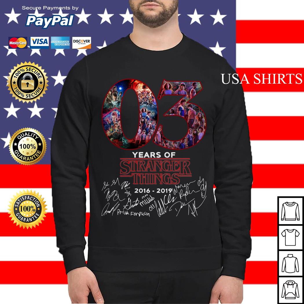 03 years of Stranger things 2008 2019 signatures Sweater