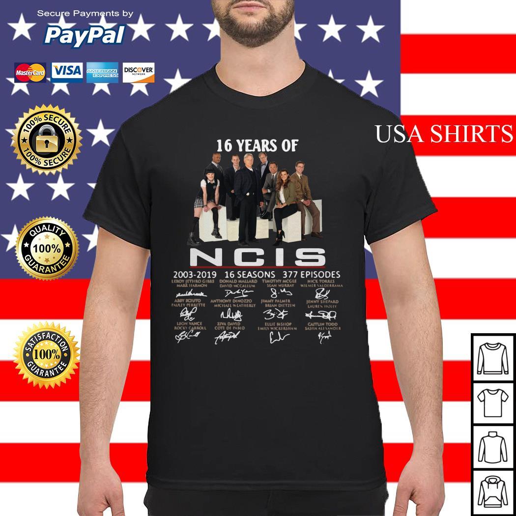 16 years of NCIS 2003-2019 16 seasons 377 episodes signature shirt