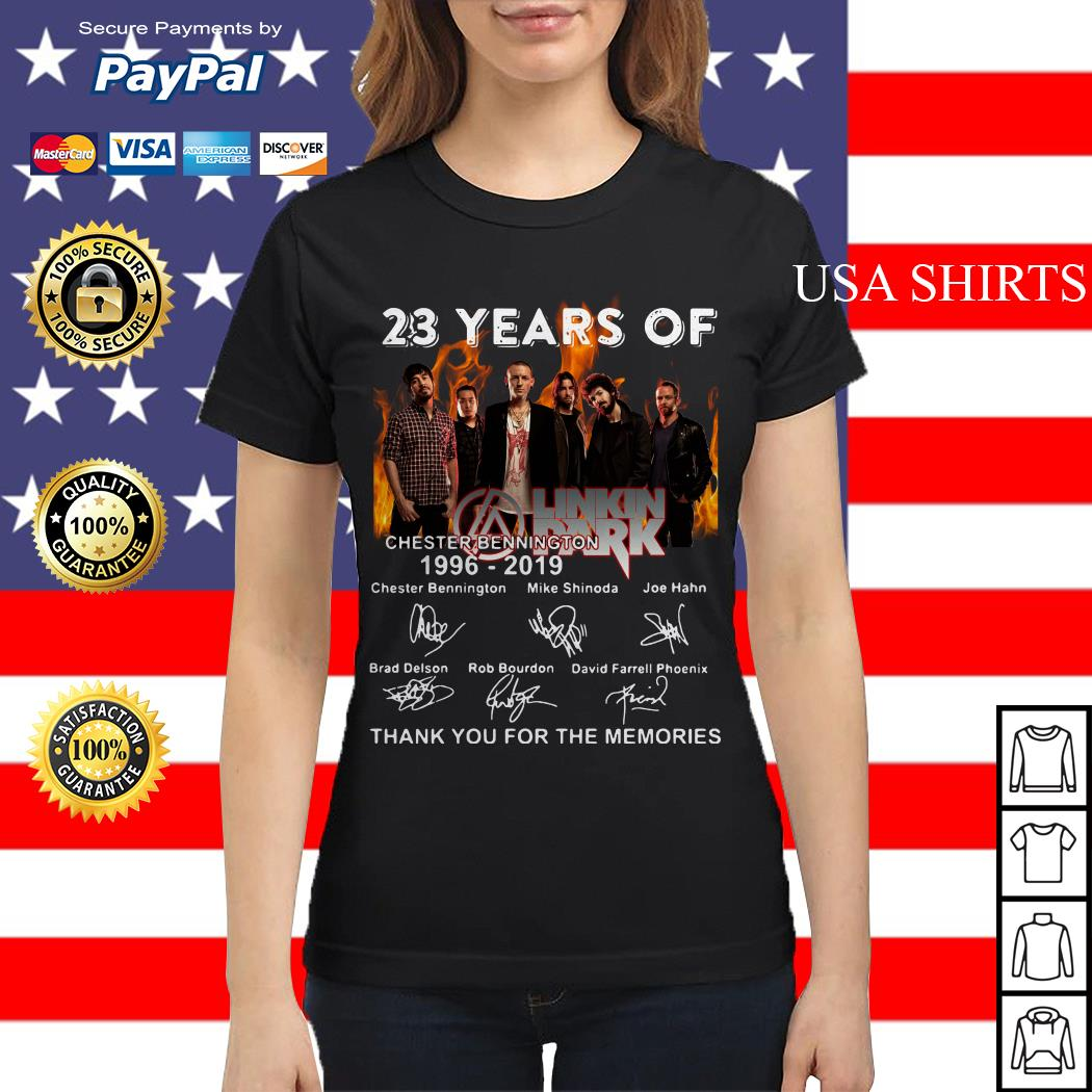 23 years of Linkin Park Chester bennington 1996 2019 thank for the memories signature Ladies tee