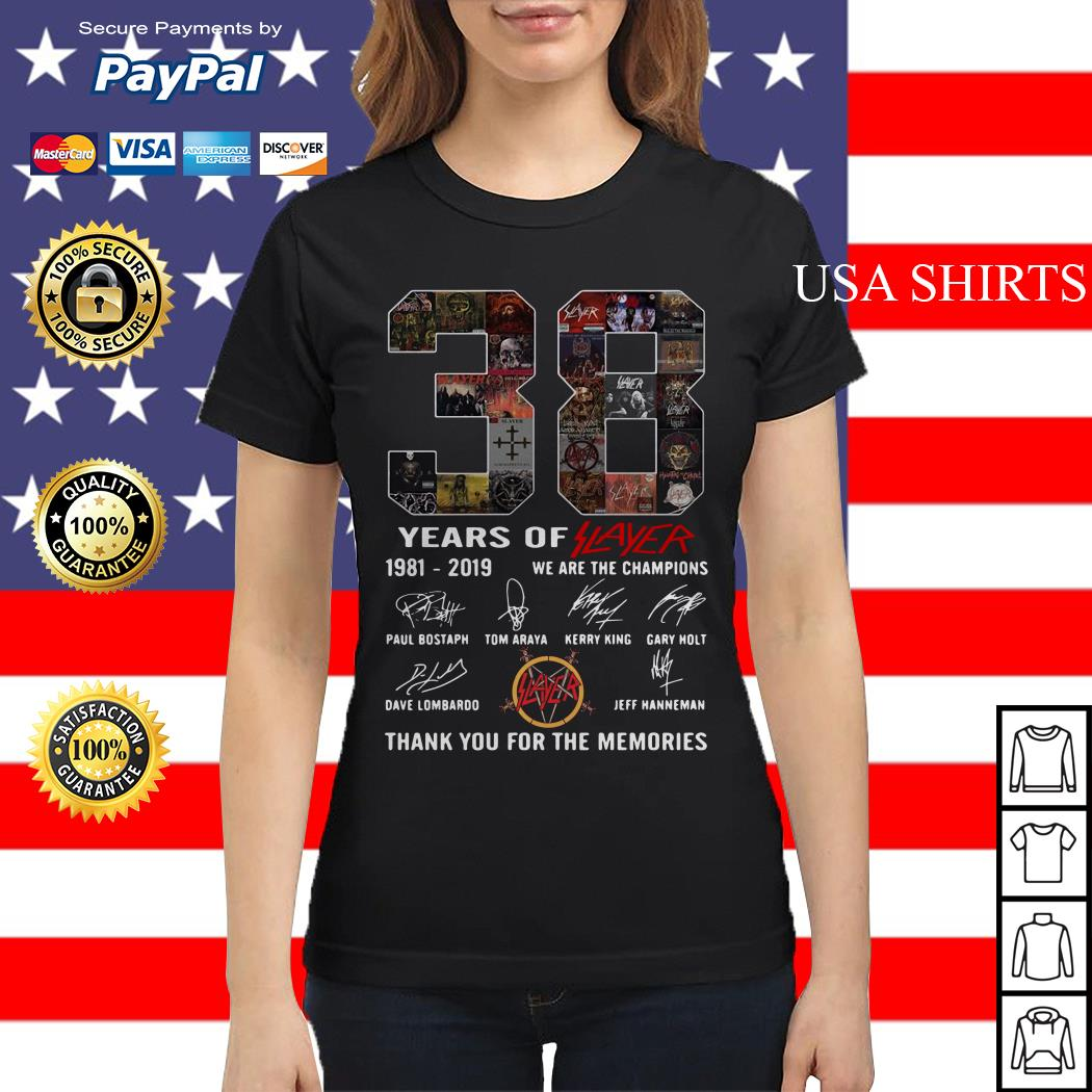 38 years of player 1981 2019 we are the champions thank you for the memories Ladies tee