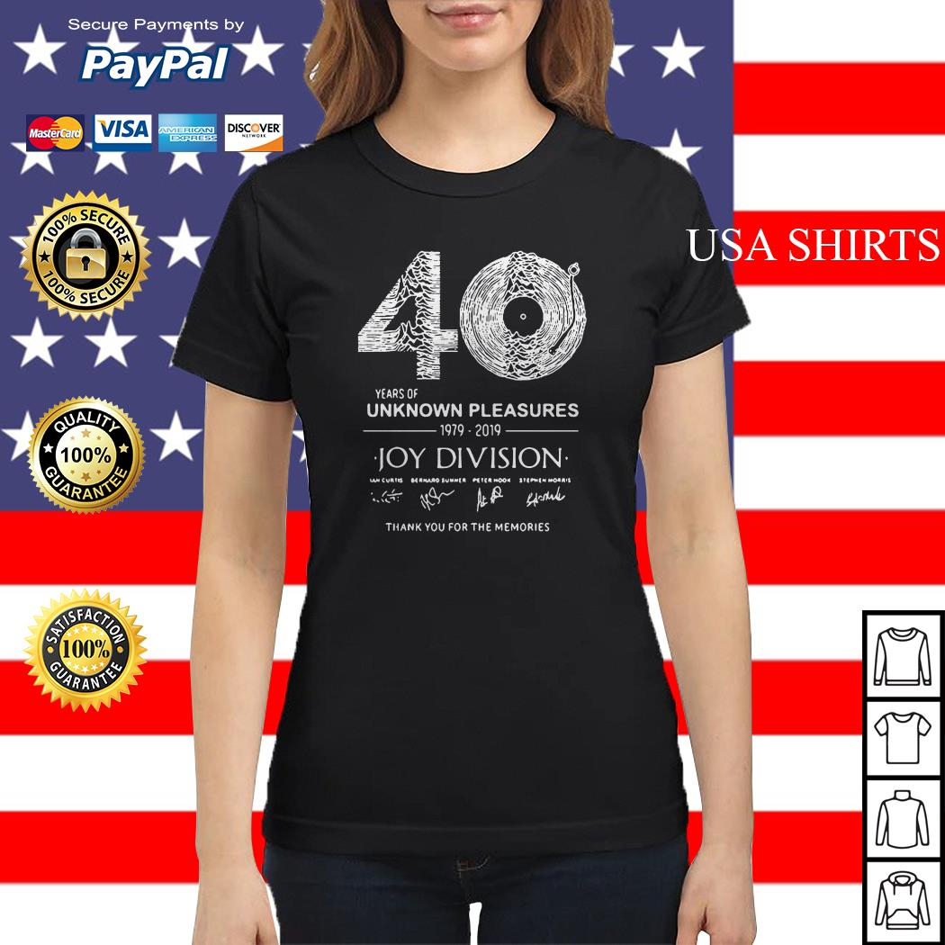 40 years of Unknown Pleasures 1979-2019 Joy Division signatures Ladies tee