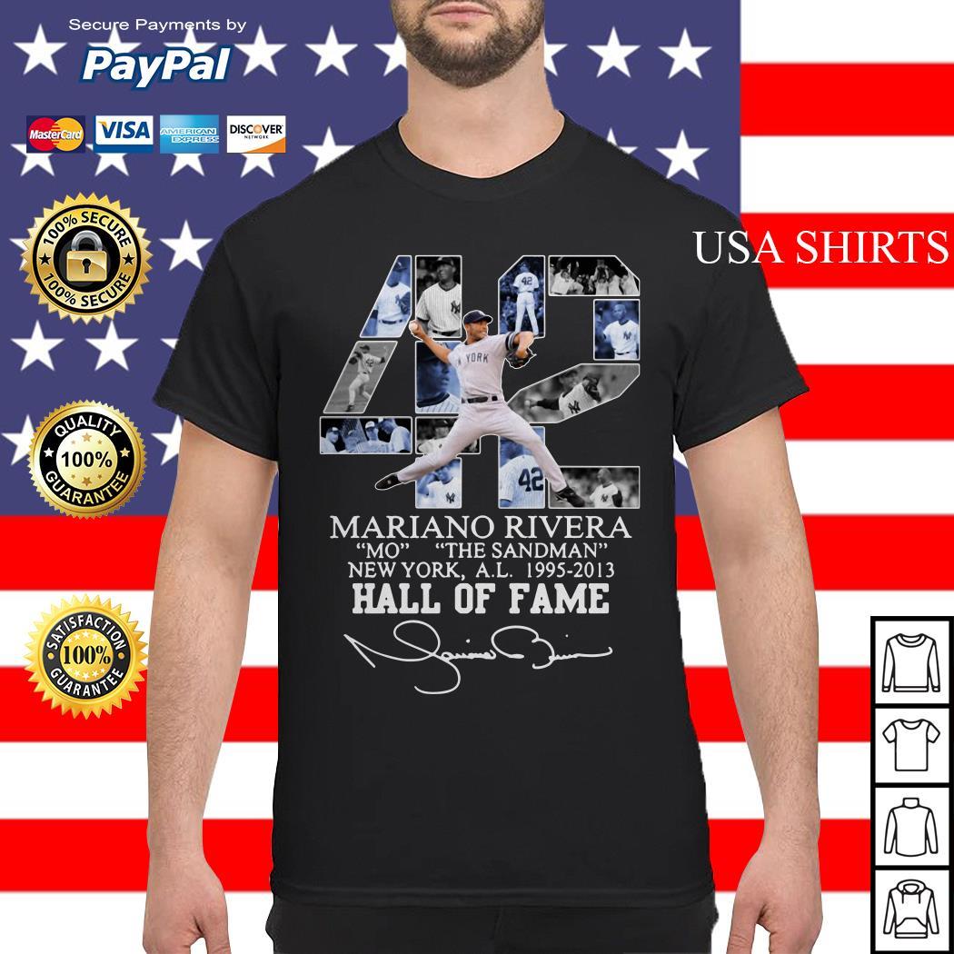 42 Mariano Rivera Mo the Sandman New York a.l 1995 2013 Hall of fame shirt