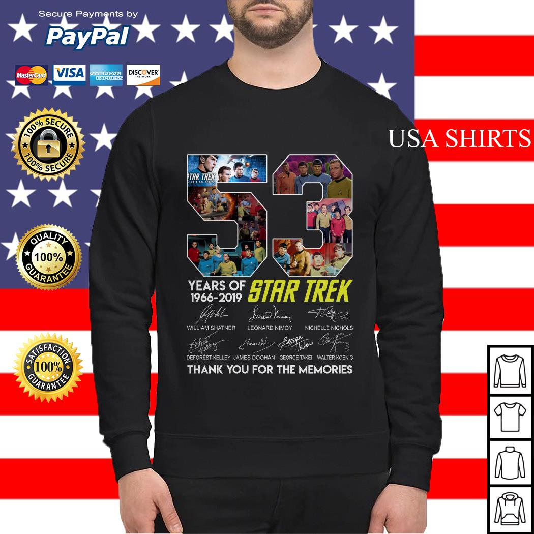 53 years of Star Trek 1966 2019 thank you for the memories signature Sweater