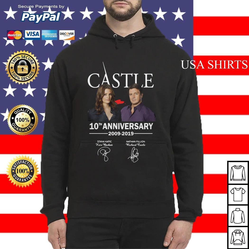 Castle 10th anniversary 2009 2019 Nathan Fillion Stana Katic signature Hoodie
