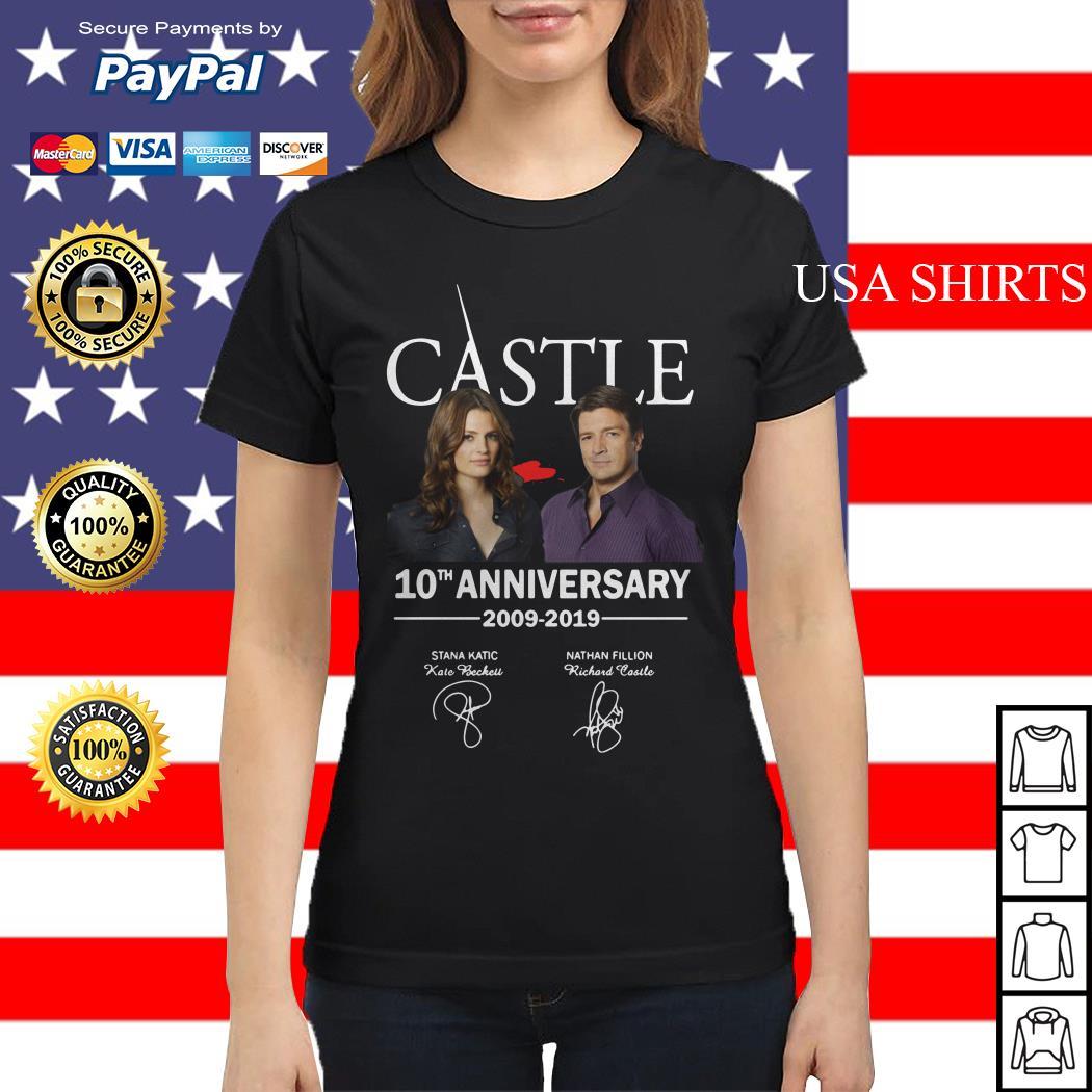 Castle 10th anniversary 2009 2019 Nathan Fillion Stana Katic signature Ladies tee