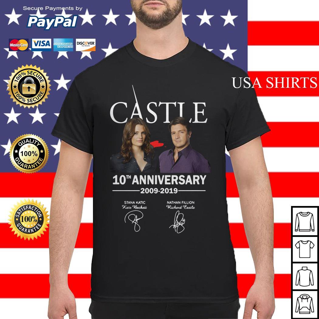 Castle 10th anniversary 2009 2019 Nathan Fillion Stana Katic signature shirt