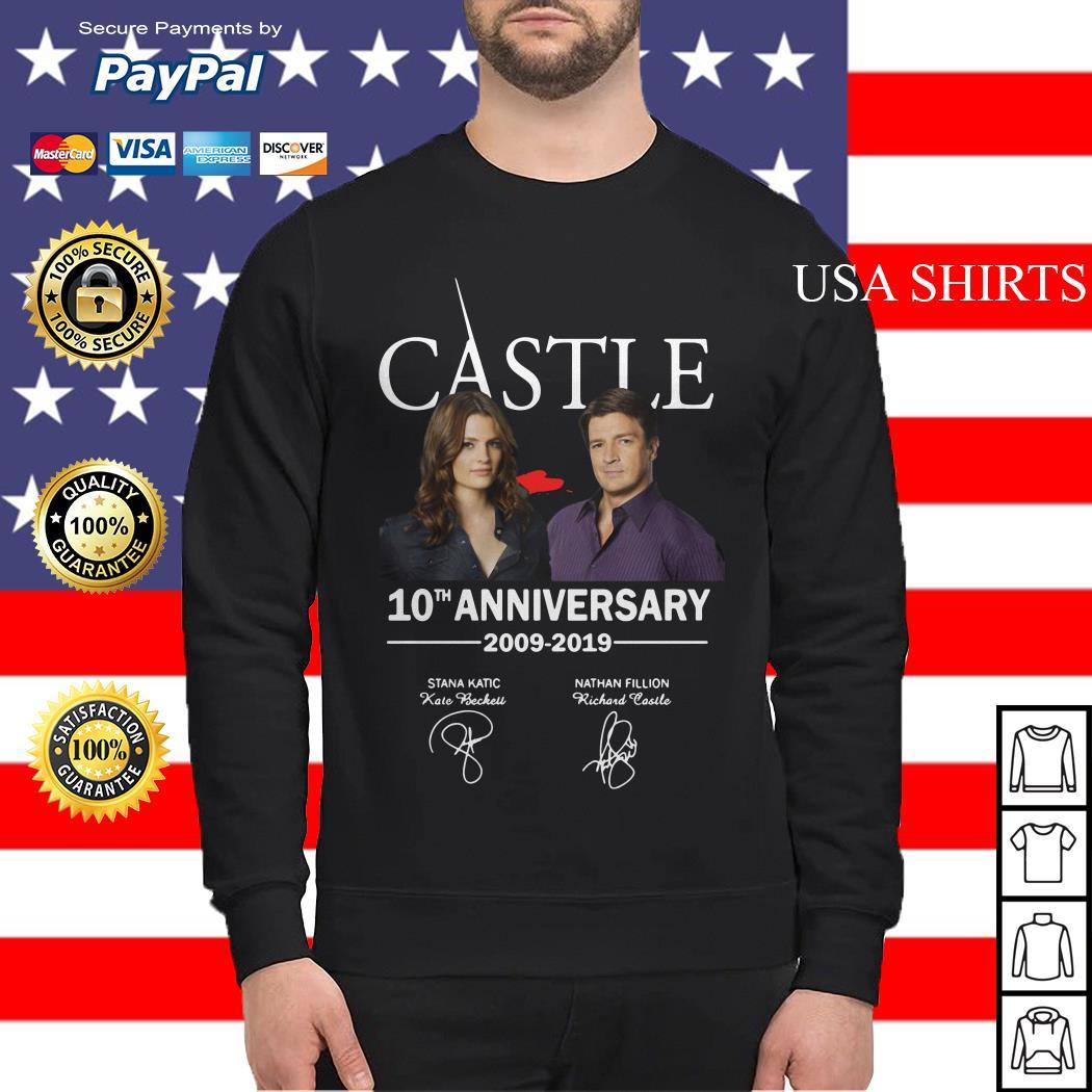 Castle 10th anniversary 2009 2019 Nathan Fillion Stana Katic signature Sweater