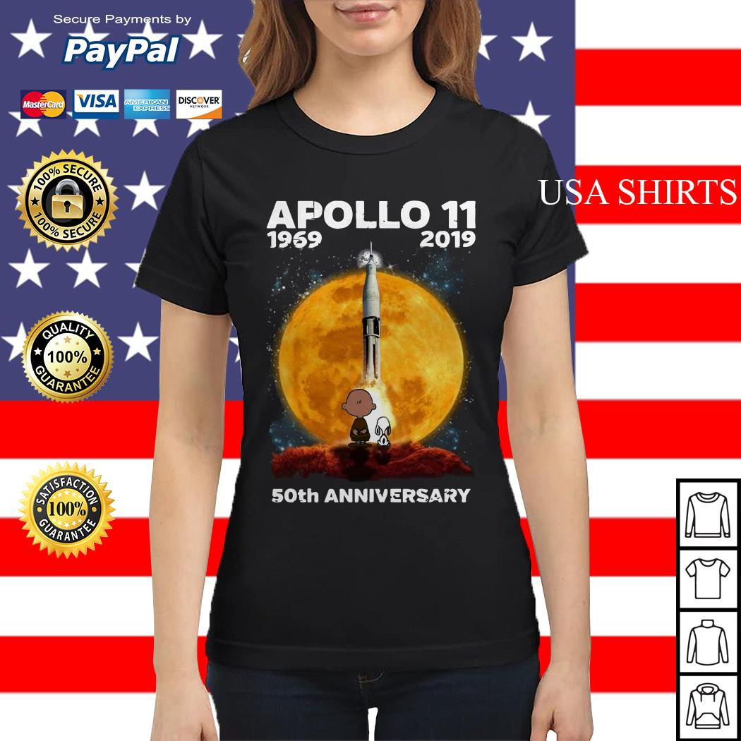 Charlie And Snoopy Apollo 11 1969 2019 50th Anniversary Ladies tee