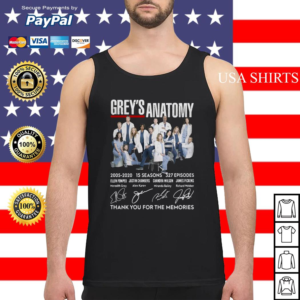 Grey's Anatomy 2005-2020 15 seasons 327 episode thank you for the memories signatures Tank top