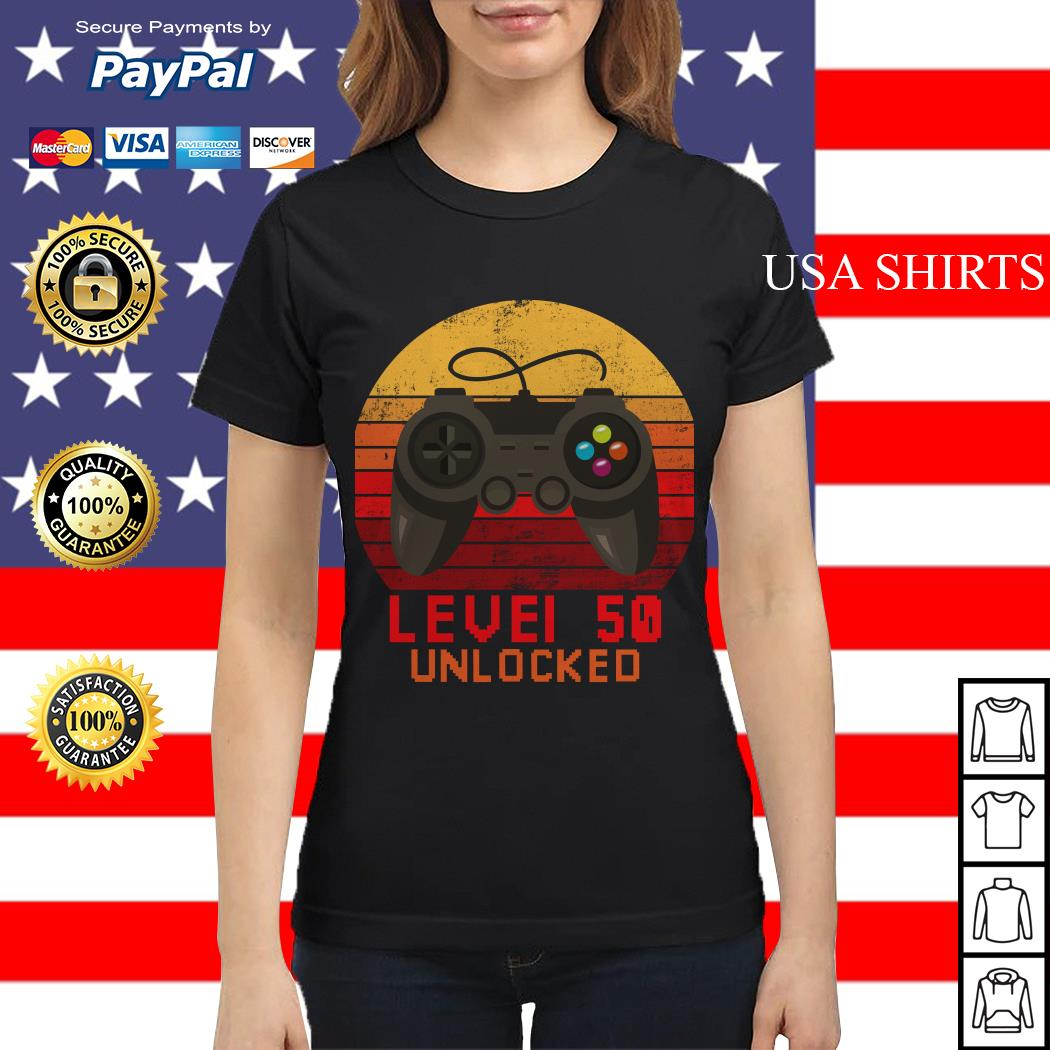 Level 50 unlocked video gamer 50th birthday vintage Ladies tee