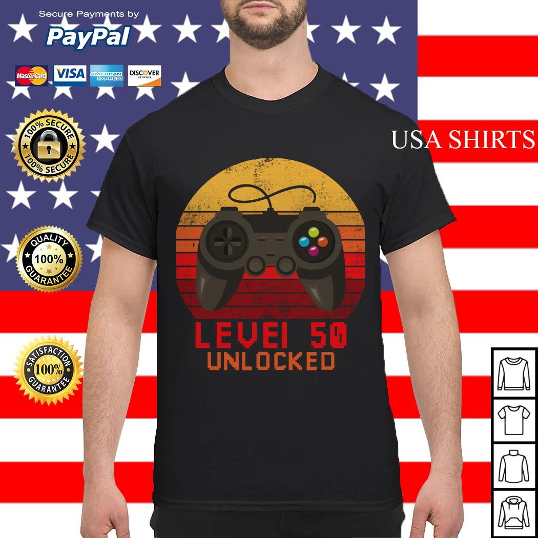 Level 50 unlocked video gamer 50th birthday vintage shirt