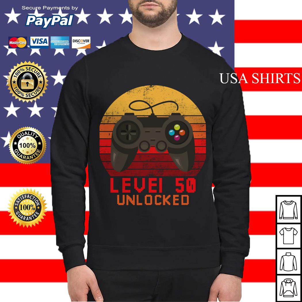 Level 50 unlocked video gamer 50th birthday vintage Sweater