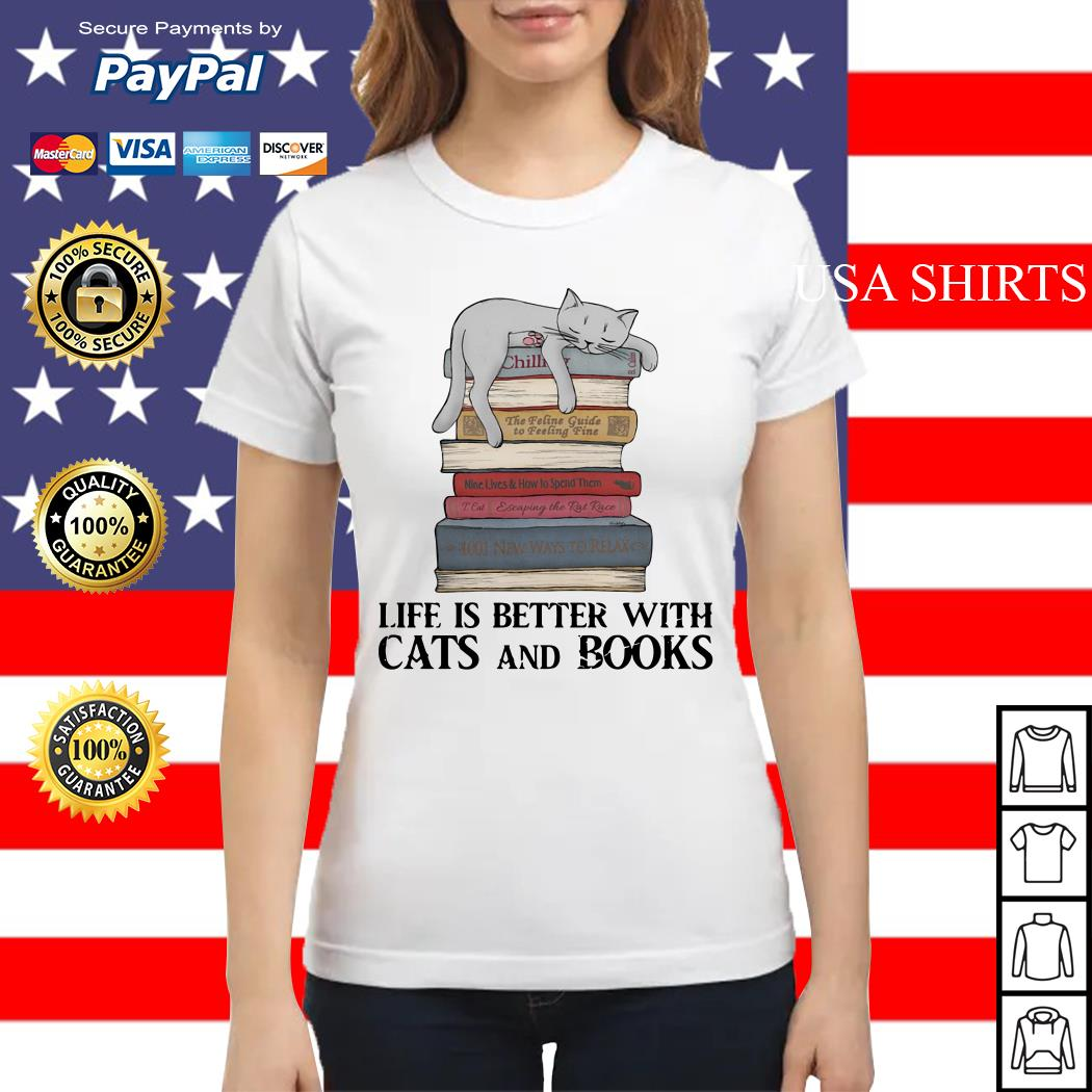 Life is better with cats and books Ladies tee