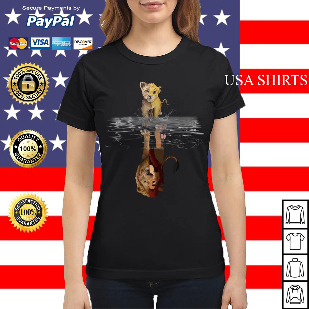 Simba Lion king water mirror reflection Mufasa Ladies tee