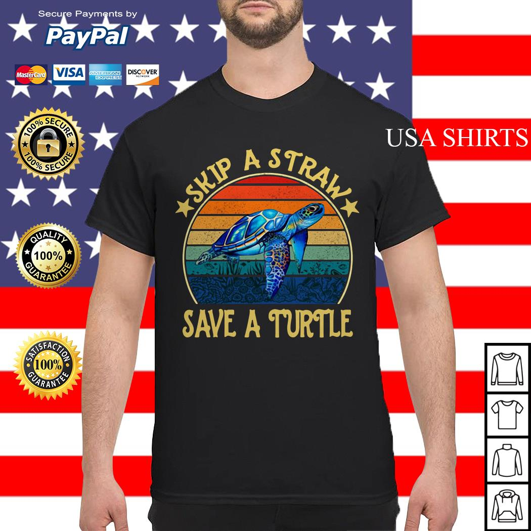Skip a straw save a turtle vintage shirt