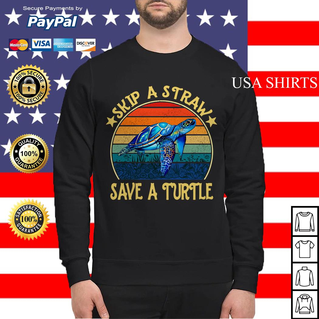 Skip a straw save a turtle vintage Sweater