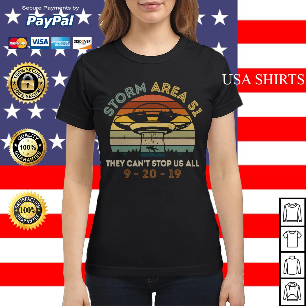 Storm Area 51 they can't stop us all UFO 9 20 19 vintage Ladies tee