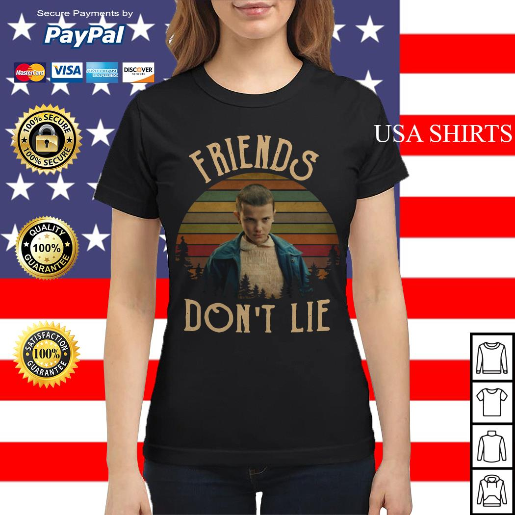 Stranger Things Eleven friends don't lie vintage Ladies tee