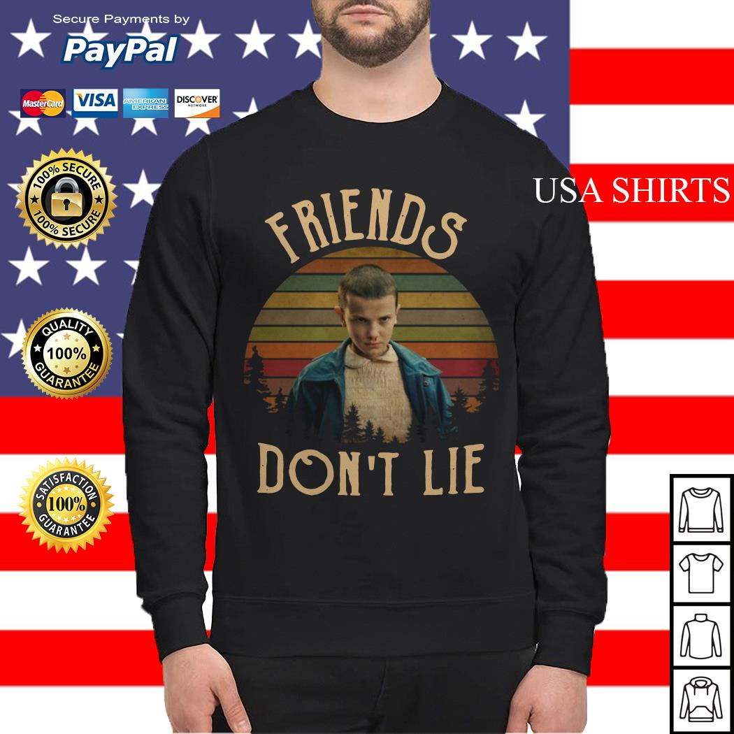 Stranger Things Eleven friends don't lie vintage Sweater