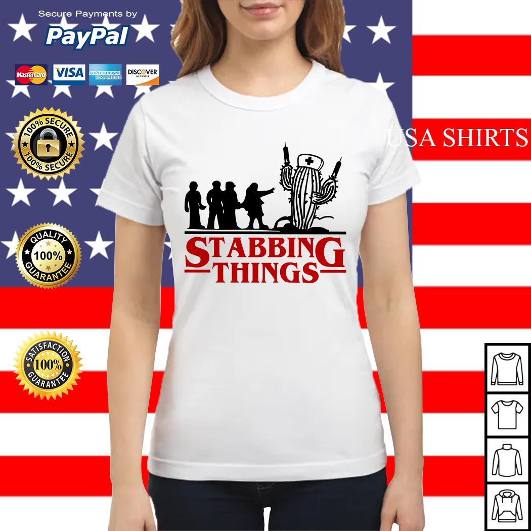 Stranger Things Stabbing Things nurse cactus Ladies tee