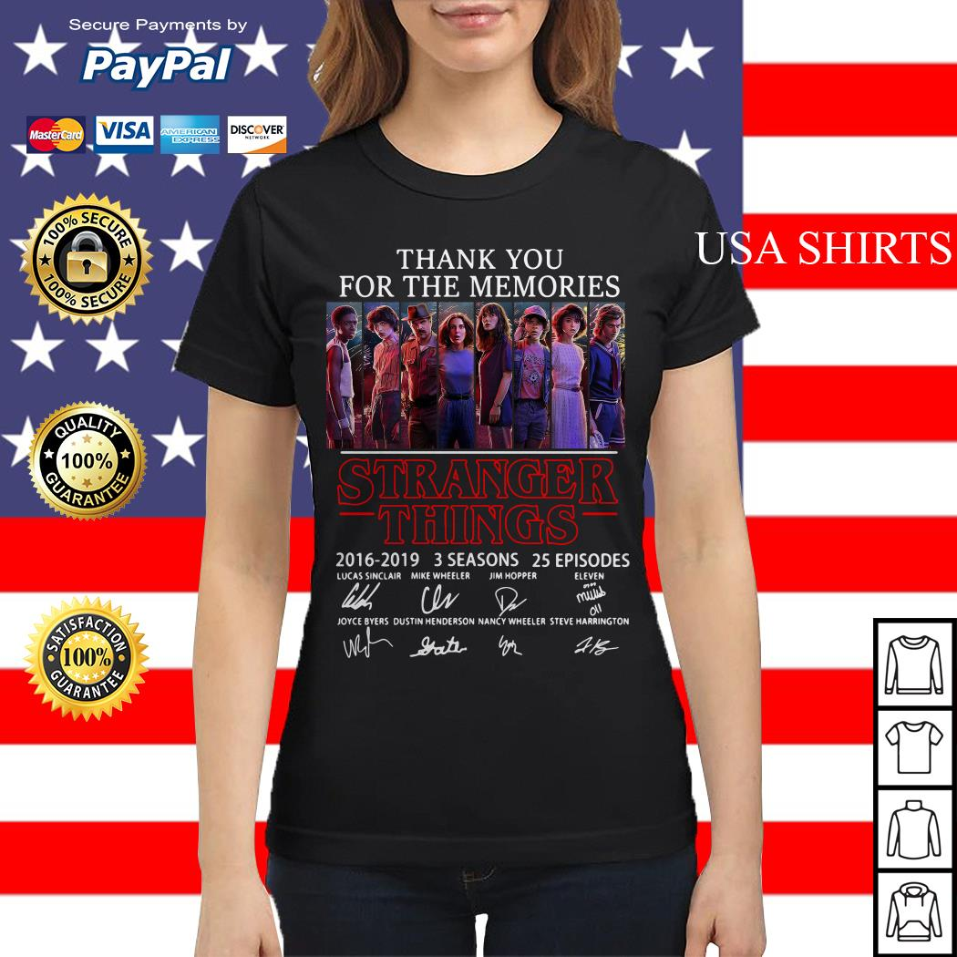 Thank you for the memories Stranger Things 2016 2019 3 seasons 25 episodes signature Ladies tee