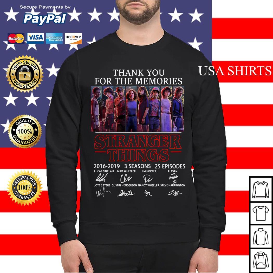 Thank you for the memories Stranger Things 2016 2019 3 seasons 25 episodes signature Sweater