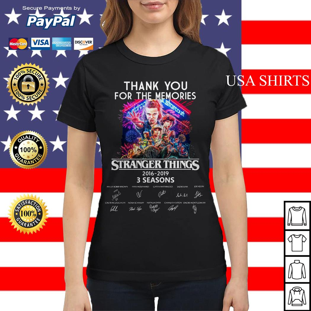 Thank you for the memories Stranger Things 2016 2019 3 seasons signature Ladies tee