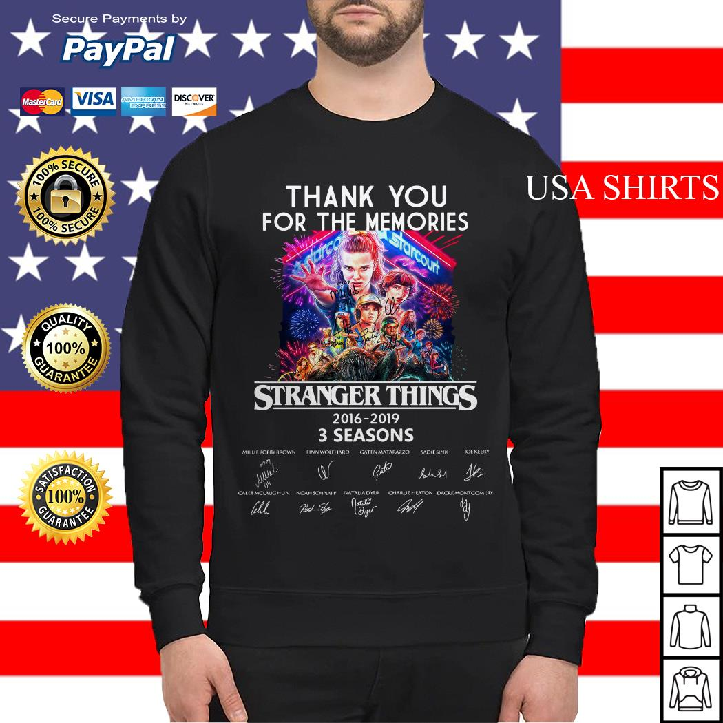 Thank you for the memories Stranger Things 2016 2019 3 seasons signature Sweater