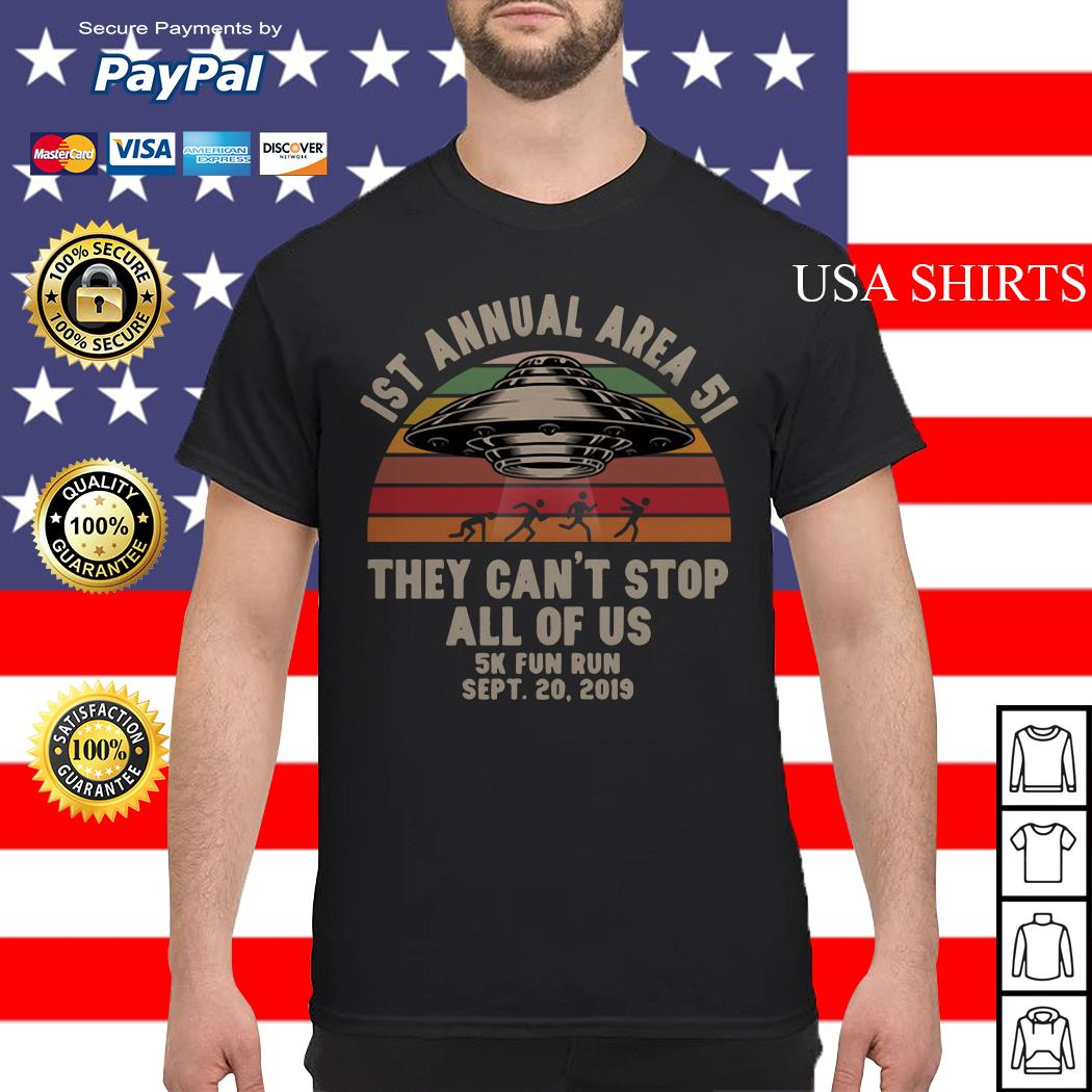 UFO 1st annual Area 51 they can't stop all of us 5k fun run sept 20 2019 vintage shirt