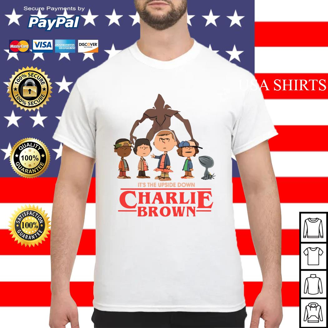 It's the upside down Charlie Brown Stranger Things shirt