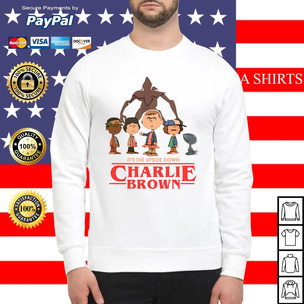 It's the upside down Charlie Brown Stranger Things Sweater