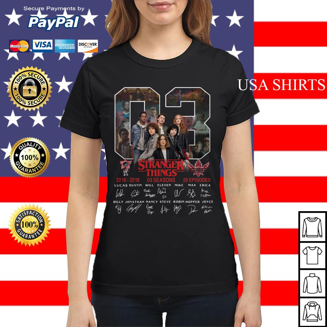 03 Stranger Things 2016 2019 03 seasons 25 episodes signature Ladies tee