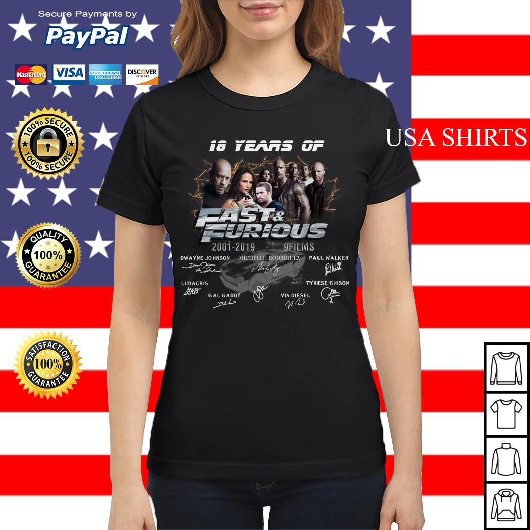 18 years of Fast and Furious 2001 2019 9 films signature Ladies tee