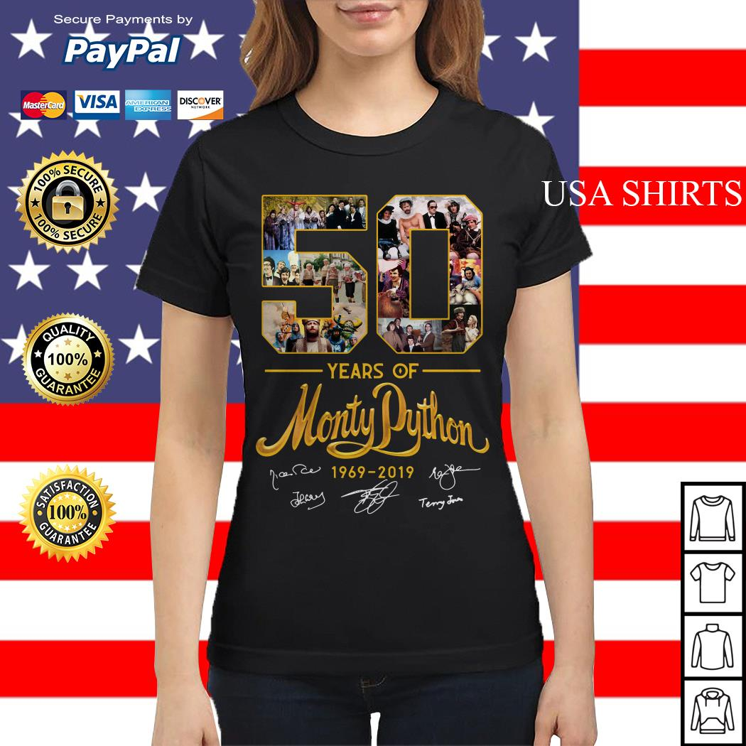 50 years of Monty Python 1969 2019 signature Ladies tee