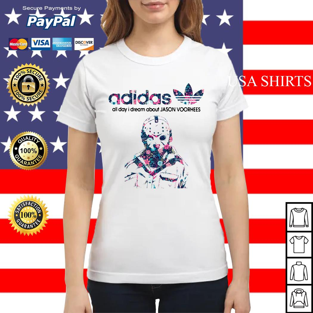 Adidas all day I dream about Jason Voorhees Ladies tee